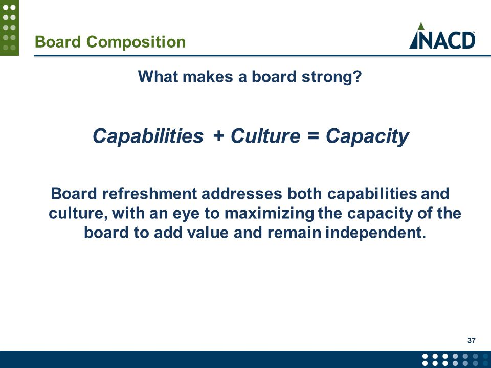 Board Composition What makes a board strong.