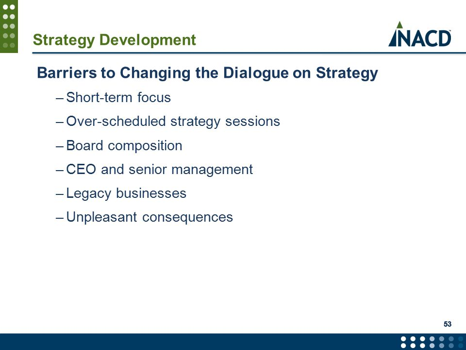 53 Strategy Development Barriers to Changing the Dialogue on Strategy –Short-term focus –Over-scheduled strategy sessions –Board composition –CEO and senior management –Legacy businesses –Unpleasant consequences