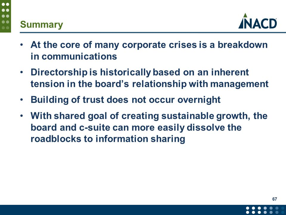 Summary At the core of many corporate crises is a breakdown in communications Directorship is historically based on an inherent tension in the board's relationship with management Building of trust does not occur overnight With shared goal of creating sustainable growth, the board and c-suite can more easily dissolve the roadblocks to information sharing 67