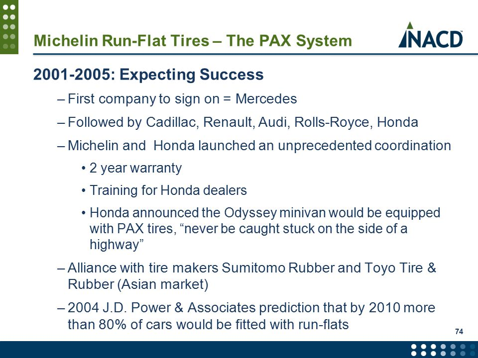 Michelin Run-Flat Tires – The PAX System 2001-2005: Expecting Success –First company to sign on = Mercedes –Followed by Cadillac, Renault, Audi, Rolls-Royce, Honda –Michelin and Honda launched an unprecedented coordination 2 year warranty Training for Honda dealers Honda announced the Odyssey minivan would be equipped with PAX tires, never be caught stuck on the side of a highway –Alliance with tire makers Sumitomo Rubber and Toyo Tire & Rubber (Asian market) –2004 J.D.