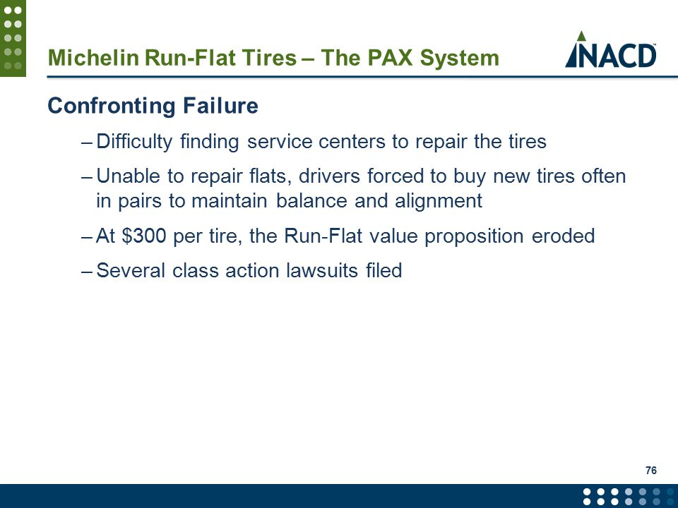 Michelin Run-Flat Tires – The PAX System Confronting Failure –Difficulty finding service centers to repair the tires –Unable to repair flats, drivers forced to buy new tires often in pairs to maintain balance and alignment –At $300 per tire, the Run-Flat value proposition eroded –Several class action lawsuits filed 76