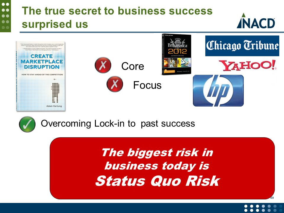 The true secret to business success surprised us Overcoming Lock-in to past success The biggest risk in business today is Status Quo Risk Core Focus 89