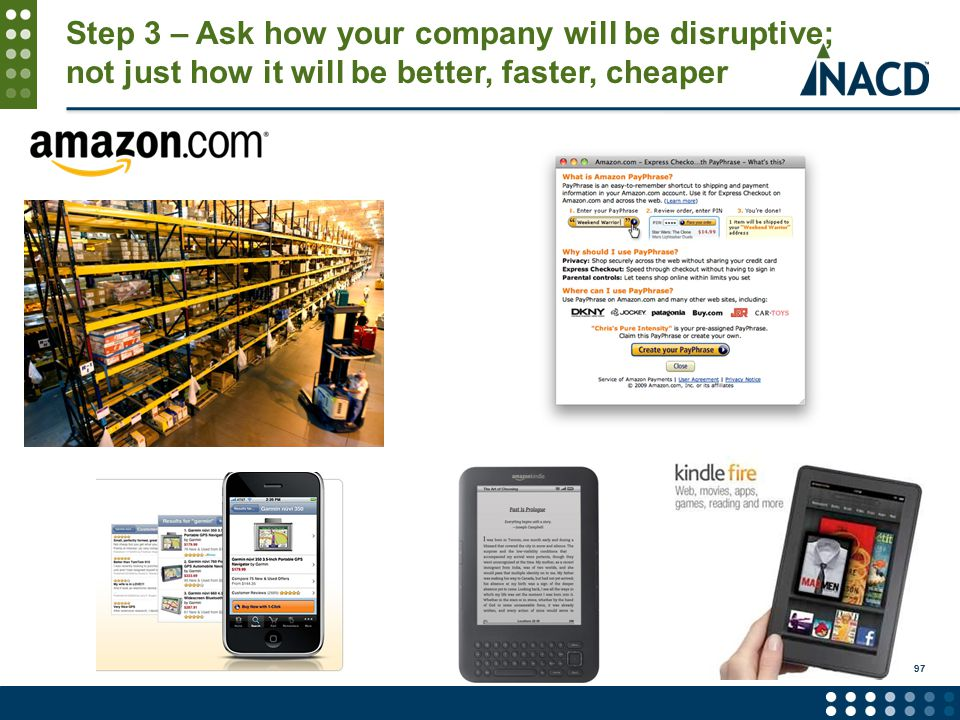 Step 3 – Ask how your company will be disruptive; not just how it will be better, faster, cheaper 97