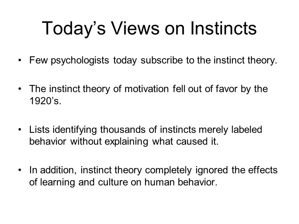 Today's Views on Instincts Few psychologists today subscribe to the instinct theory. The instinct theory of motivation fell out of favor by the 1920's