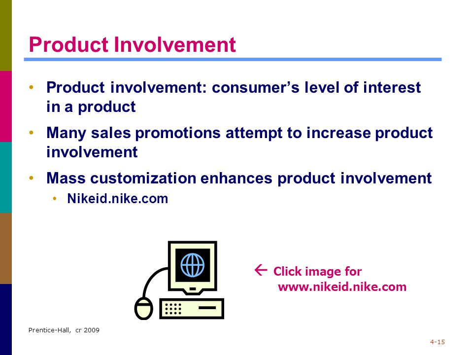 Prentice-Hall, cr 2009 4-15 Product Involvement Product involvement: consumer's level of interest in a product Many sales promotions attempt to increa