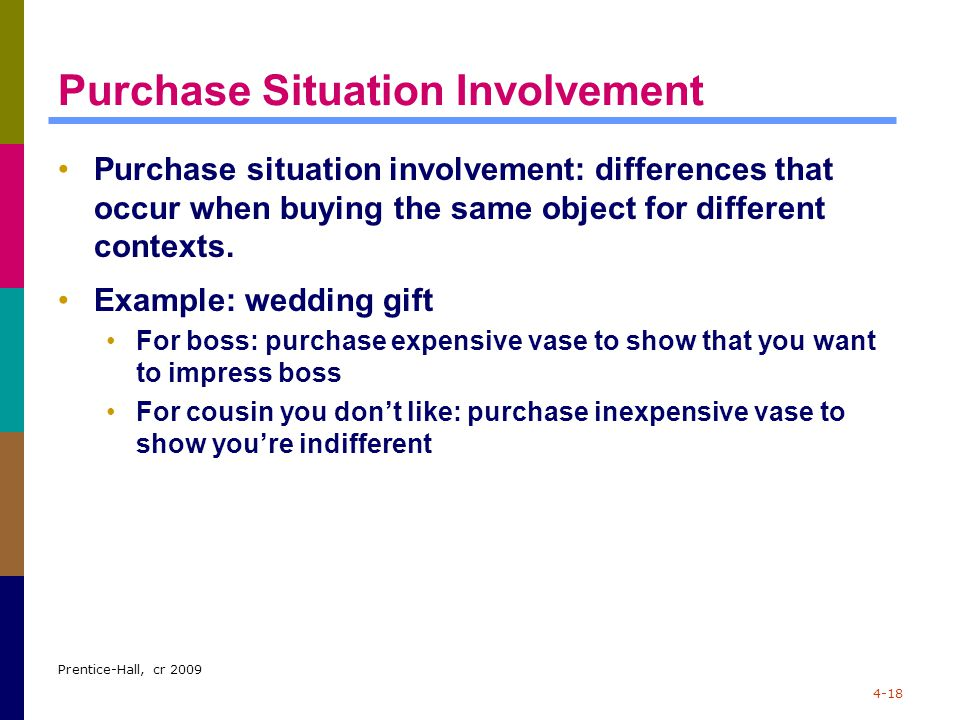 Prentice-Hall, cr 2009 4-18 Purchase Situation Involvement Purchase situation involvement: differences that occur when buying the same object for diff