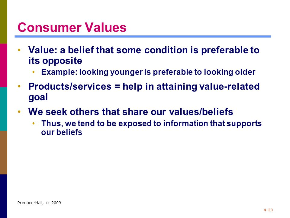 Prentice-Hall, cr 2009 4-23 Consumer Values Value: a belief that some condition is preferable to its opposite Example: looking younger is preferable t