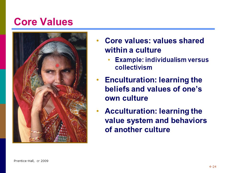 Prentice-Hall, cr 2009 4-24 Core Values Core values: values shared within a culture Example: individualism versus collectivism Enculturation: learning