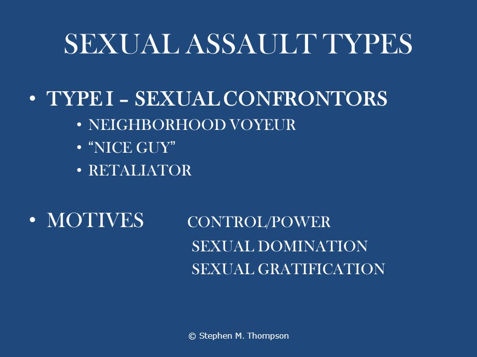 SEXUAL ASSAULT TYPES TYPE I – SEXUAL CONFRONTORS NEIGHBORHOOD VOYEUR NICE GUY RETALIATOR MOTIVES CONTROL/POWER SEXUAL DOMINATION SEXUAL GRATIFICATION © Stephen M.