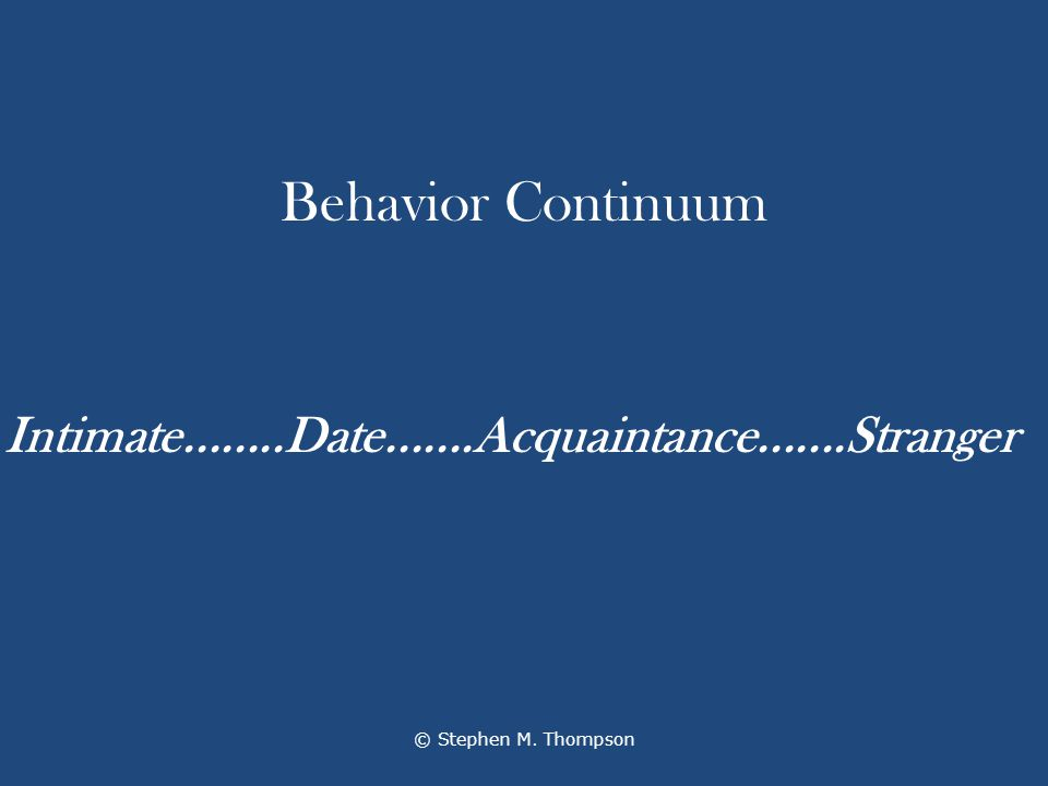 Behavior Continuum © Stephen M. Thompson Intimate........Date.......Acquaintance.......Stranger
