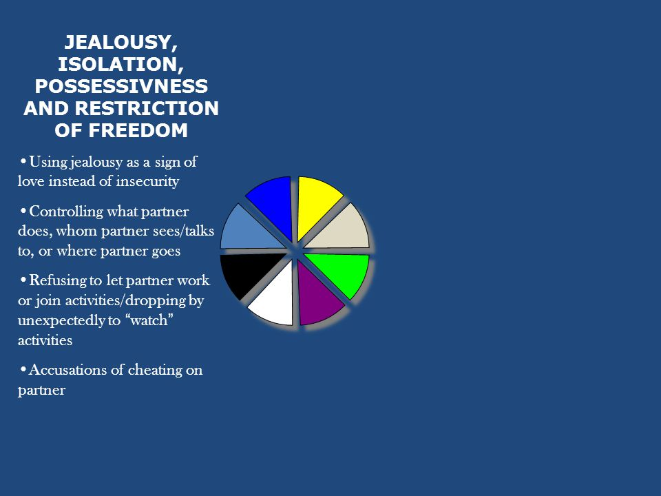 JEALOUSY, ISOLATION, POSSESSIVNESS AND RESTRICTION OF FREEDOM Using jealousy as a sign of love instead of insecurity Controlling what partner does, whom partner sees/talks to, or where partner goes Refusing to let partner work or join activities/dropping by unexpectedly to watch activities Accusations of cheating on partner