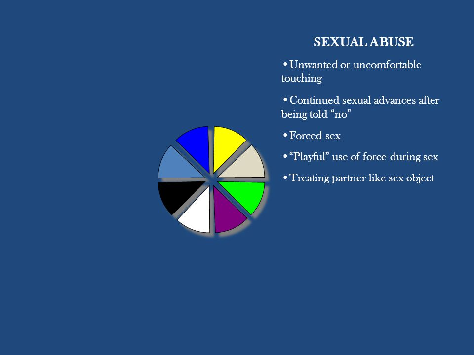 SEXUAL ABUSE Unwanted or uncomfortable touching Continued sexual advances after being told no Forced sex Playful use of force during sex Treating partner like sex object