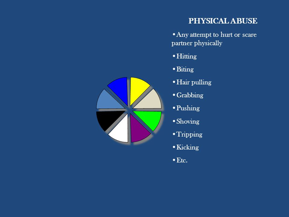 PHYSICAL ABUSE Any attempt to hurt or scare partner physically Hitting Biting Hair pulling Grabbing Pushing Shoving Tripping Kicking Etc.