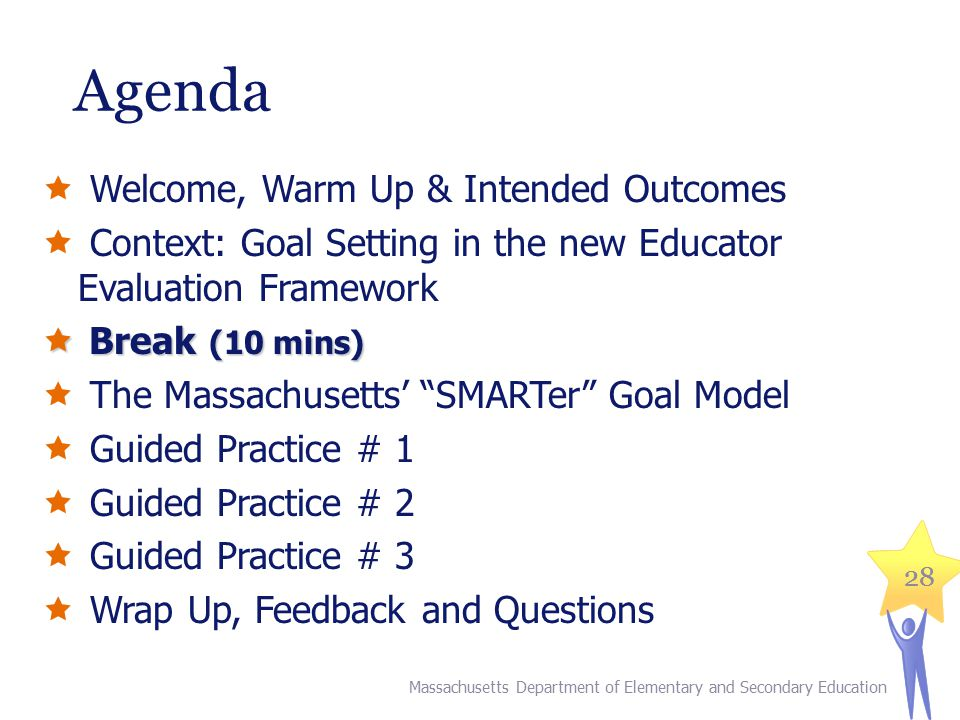 28 Agenda  Welcome, Warm Up & Intended Outcomes  Context: Goal Setting in the new Educator Evaluation Framework  Break (10 mins)  The Massachusetts' SMARTer Goal Model  Guided Practice # 1  Guided Practice # 2  Guided Practice # 3  Wrap Up, Feedback and Questions Massachusetts Department of Elementary and Secondary Education