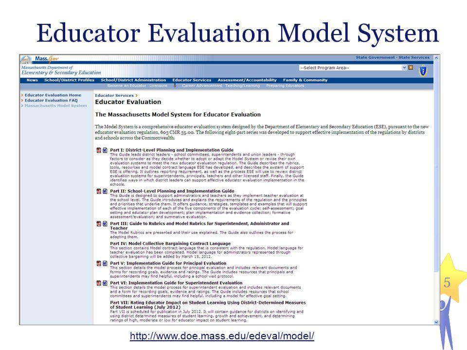 5 Educator Evaluation Model System 5 http://www.doe.mass.edu/edeval/model/
