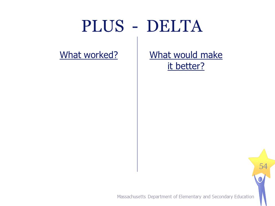 54 PLUS - DELTA Massachusetts Department of Elementary and Secondary Education What worked What would make it better