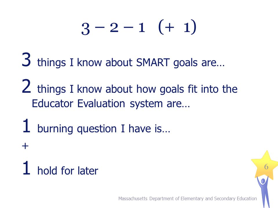 6 3 – 2 – 1 (+ 1) 3 things I know about SMART goals are… 2 things I know about how goals fit into the Educator Evaluation system are… 1 burning question I have is… + 1 hold for later Massachusetts Department of Elementary and Secondary Education