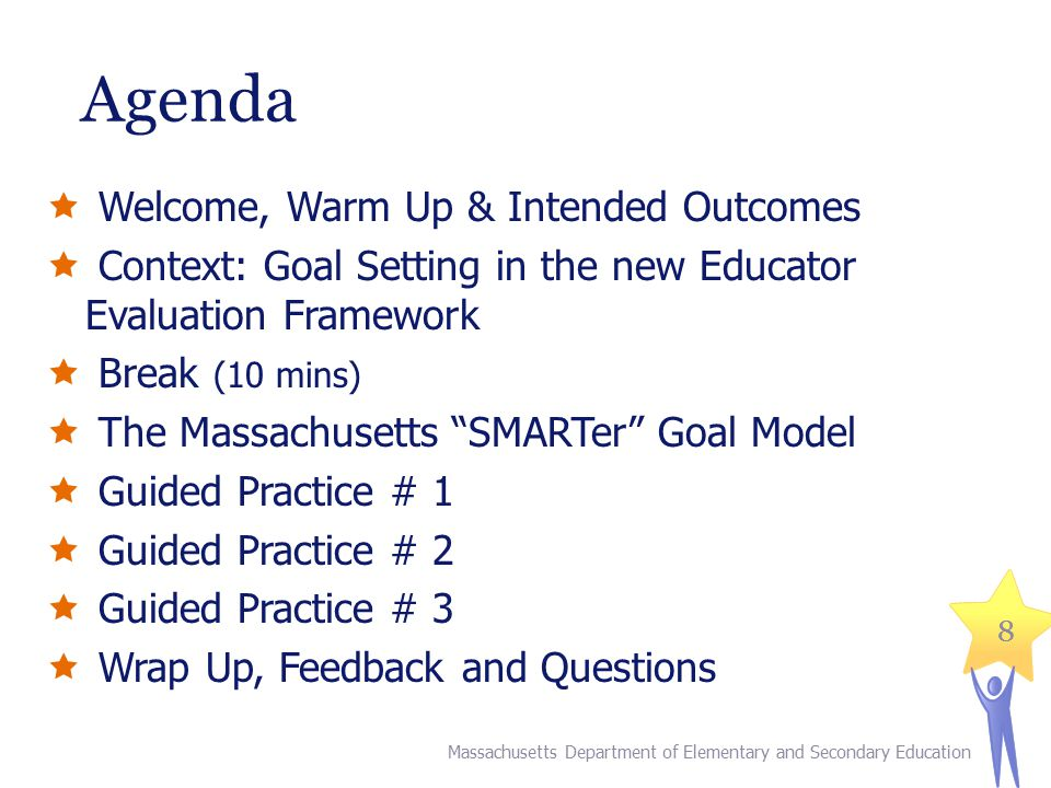 88 Agenda  Welcome, Warm Up & Intended Outcomes  Context: Goal Setting in the new Educator Evaluation Framework  Break (10 mins)  The Massachusetts SMARTer Goal Model  Guided Practice # 1  Guided Practice # 2  Guided Practice # 3  Wrap Up, Feedback and Questions Massachusetts Department of Elementary and Secondary Education