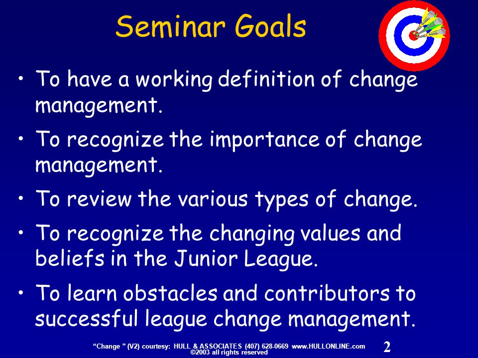 23 Change (V2) courtesy: HULL & ASSOCIATES (407) 628-0669 www.HULLONLINE.com ©2003 all rights reserved What are the Basic Mistakes organizations make in dealing with change.