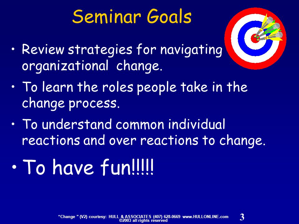 "3 ""Change "" (V2) courtesy: HULL & ASSOCIATES (407) 628-0669 www.HULLONLINE.com ©2003 all rights reserved Seminar Goals Review strategies for navigatin"