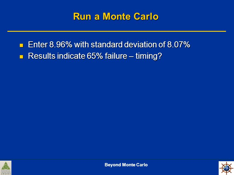 Beyond Monte Carlo Run a Monte Carlo Enter 8.96% with standard deviation of 8.07% Enter 8.96% with standard deviation of 8.07% Results indicate 65% failure – timing.