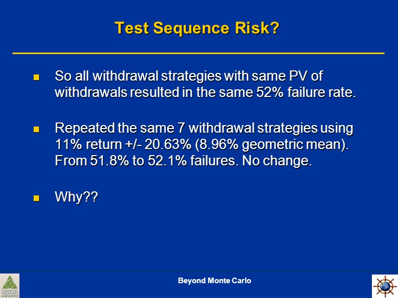 Beyond Monte Carlo Test Sequence Risk.