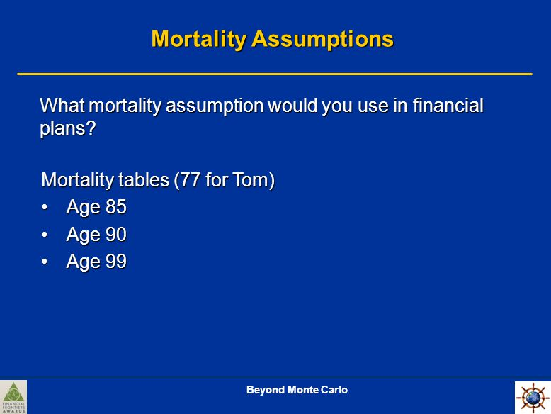 Beyond Monte Carlo Mortality Assumptions What mortality assumption would you use in financial plans.