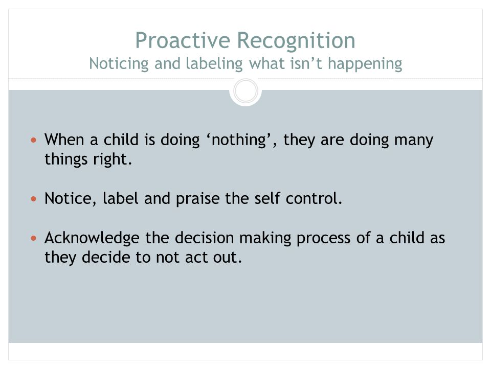 Proactive Recognition Noticing and labeling what isn't happening When a child is doing 'nothing', they are doing many things right. Notice, label and