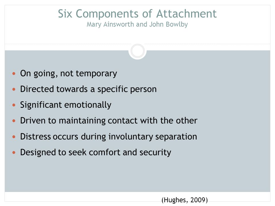 Attachment Parenting Intersubjectivity: A communication process (verbal & nonverbal) between child and parent in which experiences are shared resulting in a deepening, expanded and coherent sense of self for both Parents influence child best when child is able to influence parent Best predictor of child attachment patterns is the attachment patterns of the parents (Hughes, 2009)
