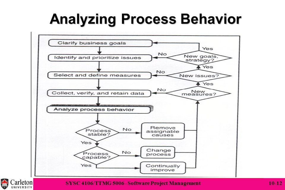 12 SYSC 4106/TTMG 5006 - Software Project Management 10-12 Analyzing Process Behavior