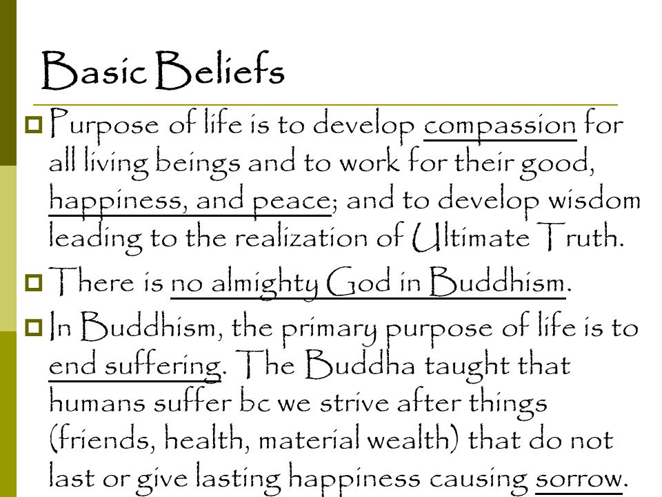 Basic Beliefs  Purpose of life is to develop compassion for all living beings and to work for their good, happiness, and peace; and to develop wisdom