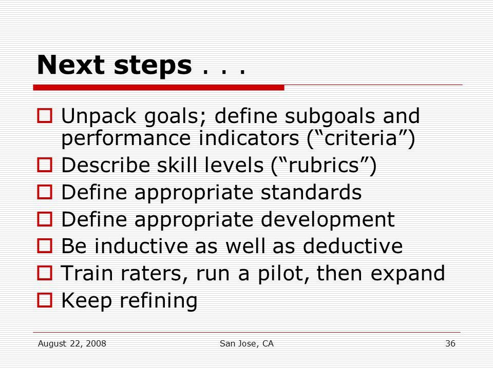 "August 22, 2008San Jose, CA36 Next steps...  Unpack goals; define subgoals and performance indicators (""criteria"")  Describe skill levels (""rubrics"""