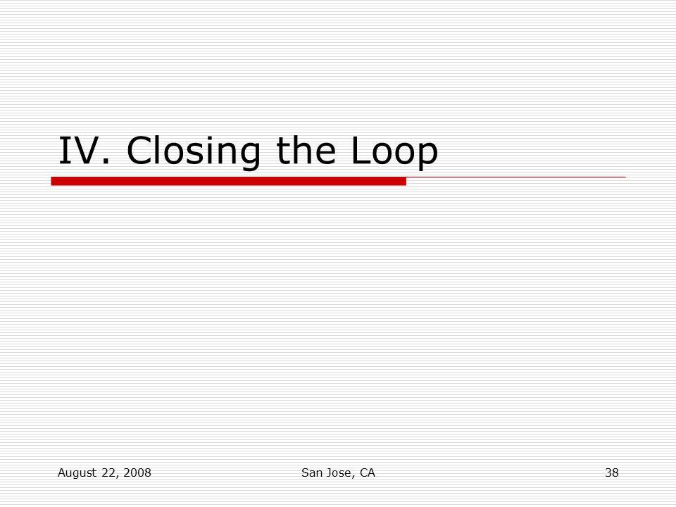 August 22, 2008San Jose, CA38 IV. Closing the Loop