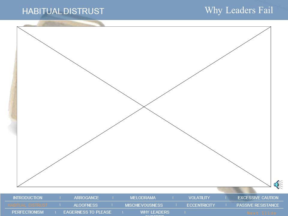 Why Leaders Fail EXCESSIVE CAUTION ARROGANCEMELODRAMAEXCESSIVE CAUTION INTRODUCTION VOLATILITY EAGERNESS TO PLEASEWHY LEADERS SUCCEED PERFECTIONISM ALOOFNESSMISCHIEVOUSNESSPASSIVE RESISTANCEHABITUAL DISTRUST ECCENTRICITY Next Slide > HealthyPotential for Failure You analyze a situation before you make a decision.