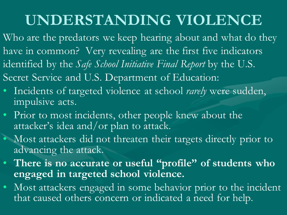 UNDERSTANDING VIOLENCE Who are the predators we keep hearing about and what do they have in common.