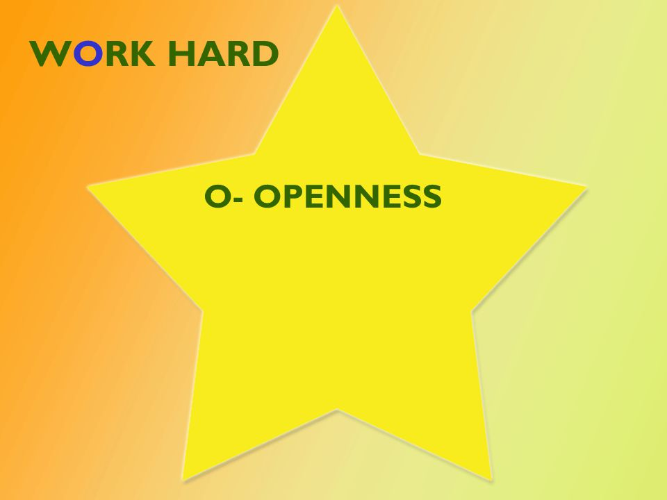 WORK HARD O- OPENNESS