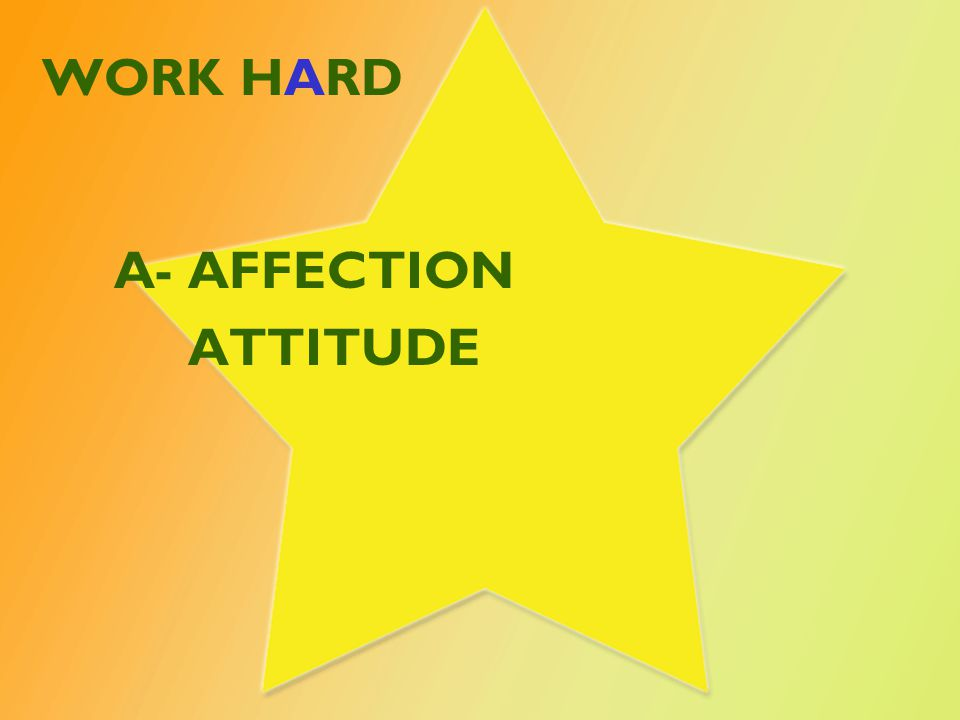 WORK HARD A- AFFECTION ATTITUDE