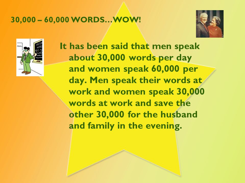 30,000 – 60,000 WORDS…WOW! It has been said that men speak about 30,000 words per day and women speak 60,000 per day. Men speak their words at work an