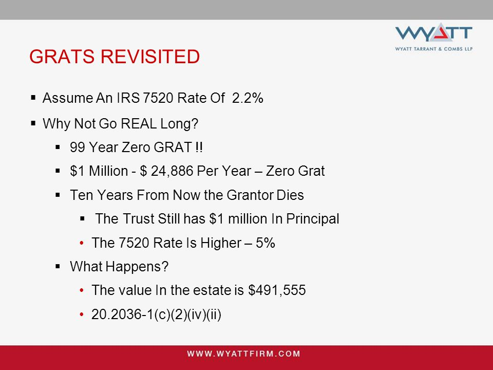 GRATS REVISITED  Assume An IRS 7520 Rate Of 2.2%  Why Not Go REAL Long?  99 Year Zero GRAT !!  $1 Million - $ 24,886 Per Year – Zero Grat  Ten Ye