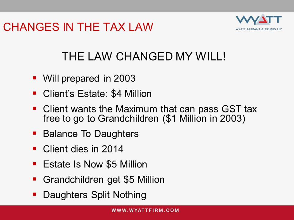 CHANGES IN THE TAX LAW THE LAW CHANGED MY WILL.