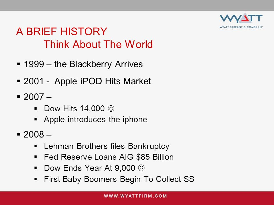A BRIEF HISTORY Think About The World  1999 – the Blackberry Arrives  2001 - Apple iPOD Hits Market  2007 –  Dow Hits 14,000  Apple introduces th