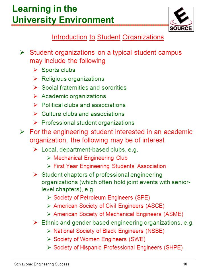 Schiavone: Engineering Success18 Introduction to Student Organizations ØStudent organizations on a typical student campus may include the following ØSports clubs ØReligious organizations ØSocial fraternities and sororities ØAcademic organizations ØPolitical clubs and associations ØCulture clubs and associations ØProfessional student organizations ØFor the engineering student interested in an academic organization, the following may be of interest ØLocal, department-based clubs, e.g.