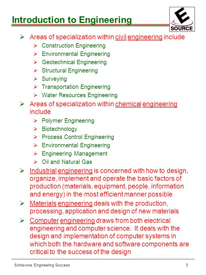 Schiavone: Engineering Success5 Introduction to Engineering ØAreas of specialization within civil engineering include ØConstruction Engineering ØEnvironmental Engineering ØGeotechnical Engineering ØStructural Engineering ØSurveying ØTransportation Engineering ØWater Resources Engineering ØAreas of specialization within chemical engineering include ØPolymer Engineering ØBiotechnology ØProcess Control Engineering ØEnvironmental Engineering ØEngineering Management ØOil and Natural Gas ØIndustrial engineering is concerned with how to design, organize, implement and operate the basic factors of production (materials, equipment, people, information and energy) in the most efficient manner possible ØMaterials engineering deals with the production, processing, application and design of new materials ØComputer engineering draws from both electrical engineering and computer science.
