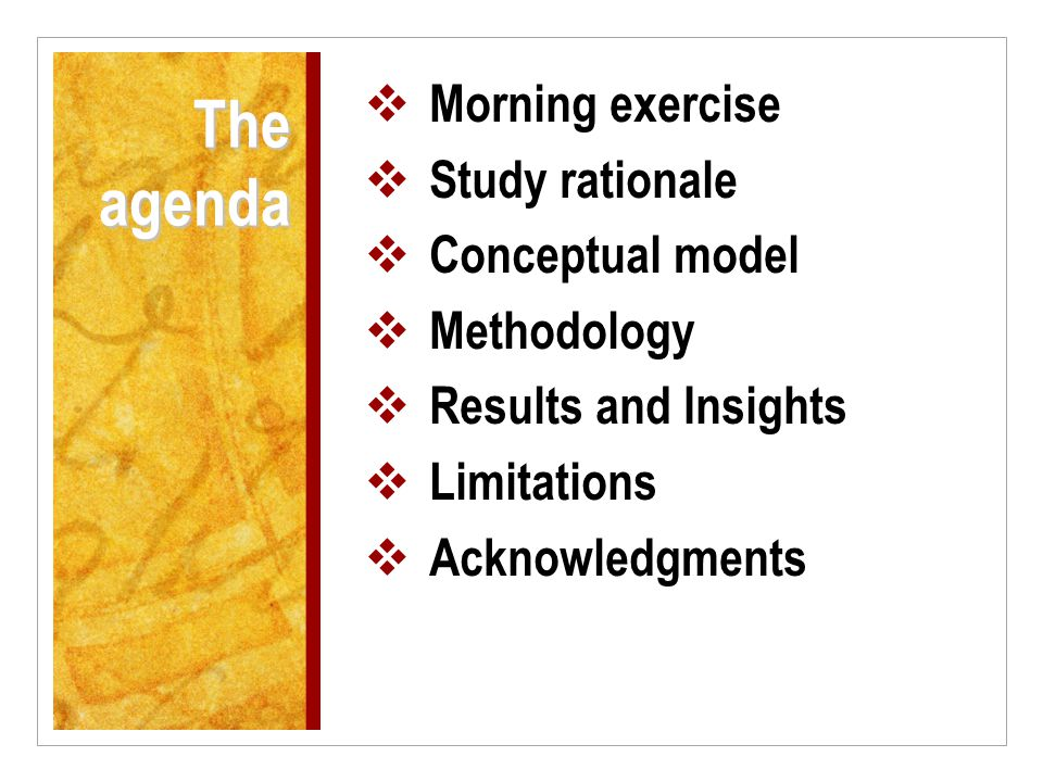 The agenda  Morning exercise  Study rationale  Conceptual model  Methodology  Results and Insights  Limitations  Acknowledgments