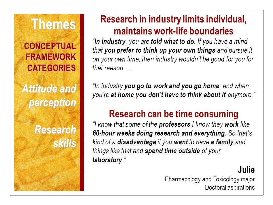 Research in industry limits individual, maintains work-life boundaries In industry, you are told what to do.
