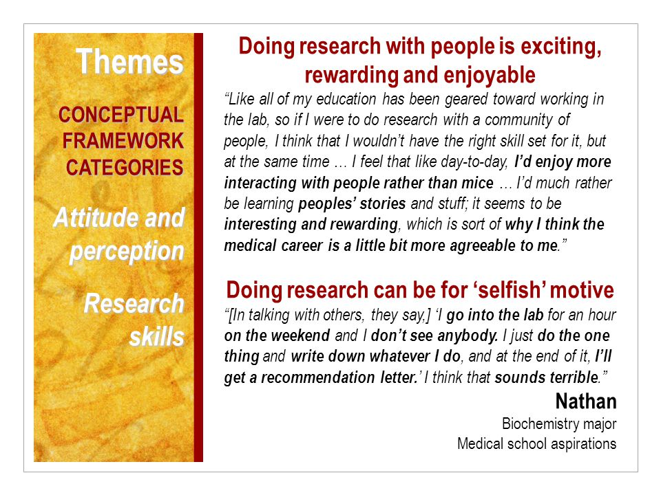 Doing research with people is exciting, rewarding and enjoyable Like all of my education has been geared toward working in the lab, so if I were to do research with a community of people, I think that I wouldn't have the right skill set for it, but at the same time … I feel that like day-to-day, I'd enjoy more interacting with people rather than mice … I'd much rather be learning peoples' stories and stuff; it seems to be interesting and rewarding, which is sort of why I think the medical career is a little bit more agreeable to me. Doing research can be for 'selfish' motive [In talking with others, they say,] 'I go into the lab for an hour on the weekend and I don't see anybody.