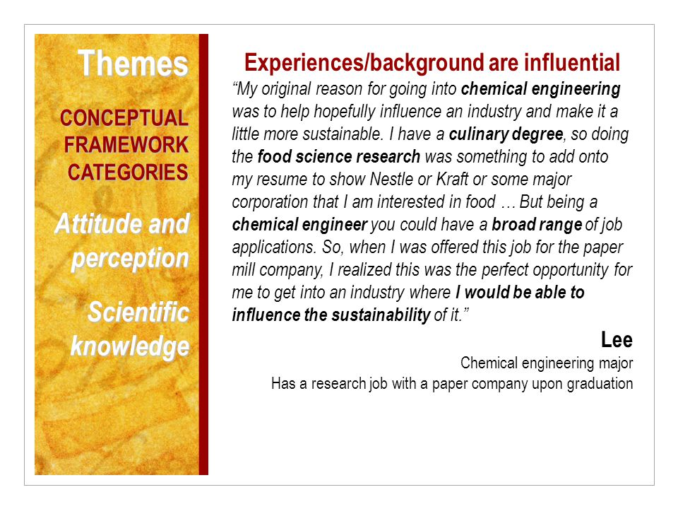 Experiences/background are influential My original reason for going into chemical engineering was to help hopefully influence an industry and make it a little more sustainable.