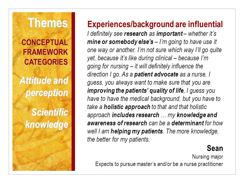 Experiences/background are influential I definitely see research as important – whether it's mine or somebody else's – I'm going to have use it one way or another.