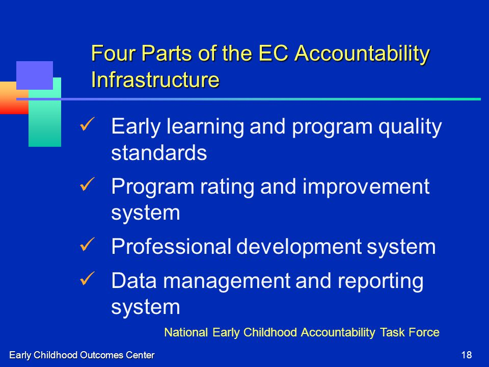Early Childhood Outcomes Center18 Four Parts of the EC Accountability Infrastructure Early learning and program quality standards Program rating and improvement system Professional development system Data management and reporting system National Early Childhood Accountability Task Force
