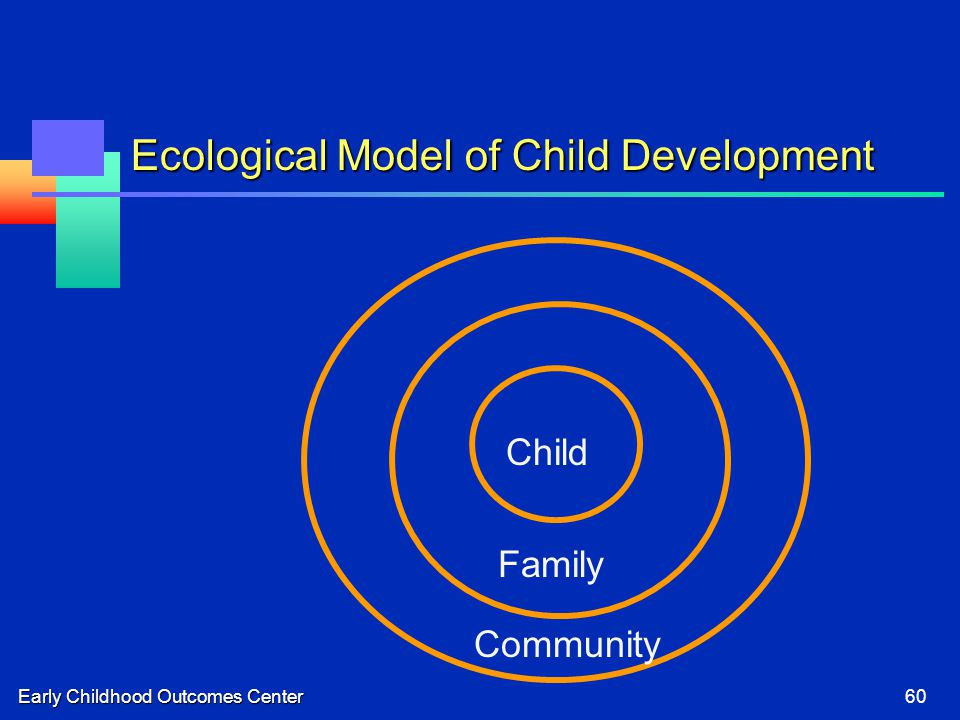 Early Childhood Outcomes Center60 Ecological Model of Child Development Child Family Community